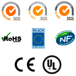 Respect des normes ISO9001, ISO14001, SA8000, RoHS, REACH, CE, UL, NF